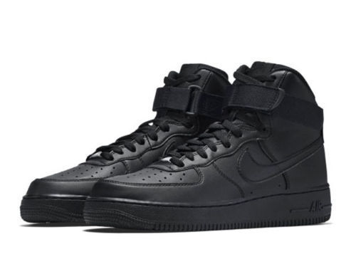 {} MEN'S NIKE AIR FORCE 1 HIGH '07 TRIPLE BLACK *NEW!*