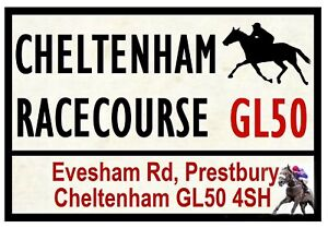 HORSE-RACING-ROAD-SIGNS-CHELTENHAM-FUN-SOUVENIR-NOVELTY-FRIDGE-MAGNET-GIFT