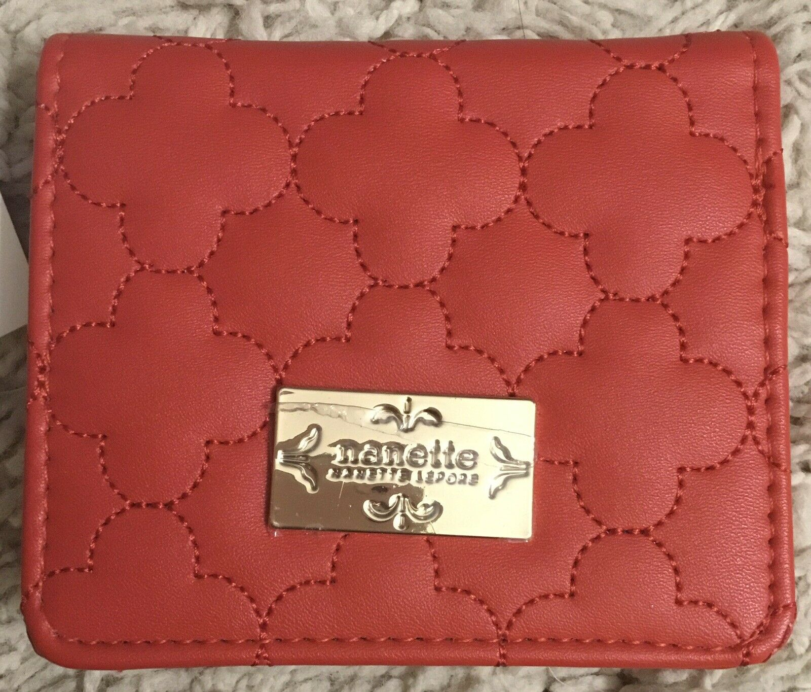 NANETTE LEPORE deep rose red pink quilted quatrefoil small fold out wallet new