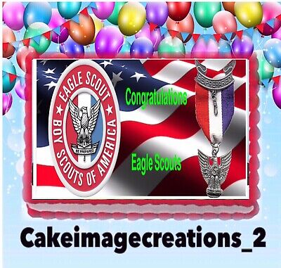 EAGLE Scout emblem EDIBLE cake topper decoration sugar sheet party boy badge
