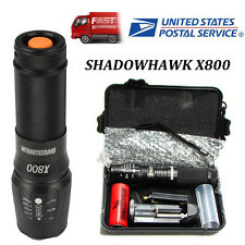 Authentic 8000lm Genuine SHADOWHAWK X800 Tactical Flashlight LED Zoom Torch