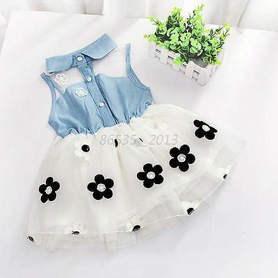 Kids Sleeveless Lace Denim Tulle Flower Princess Tutu Dress for 2-7Y Baby Girls