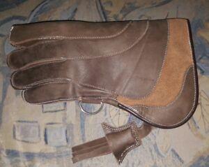 Falconry-Glove-Quadruple-Skinned-Nubuck-Leather-11-034-Long-4-Layer-Rusty-Brown