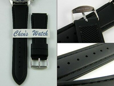HQ 18 20 22 MM BLACK LEATHER STY RUBBER BAND w/ REAL STITCH STRAP FITS SEIKO
