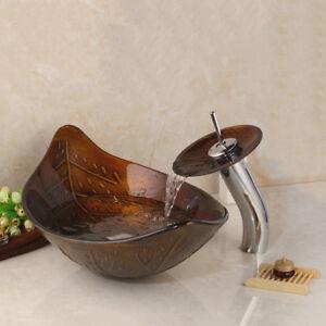 Details zu Handmalerei verlässt Badezimmer Waschbecken Countertop  gehärtetes Glas Becken Wa