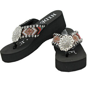 50d4a592191 Image is loading HNSK-WESTERN-RHINESTONE-AZTEC-CONCHO-COWGIRL-FLIP-FLOPS-