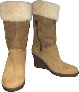BNWT-Ladies-Ugg-Joslyn-Tan-Suede-3Inch-Heel-Boots-Size-UK-3-5-VF169