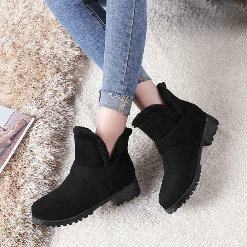 Details about  /New Women Casual Low Heel Winter Warm Snow Pull On Ankle Boots Fur Lined Shoes D