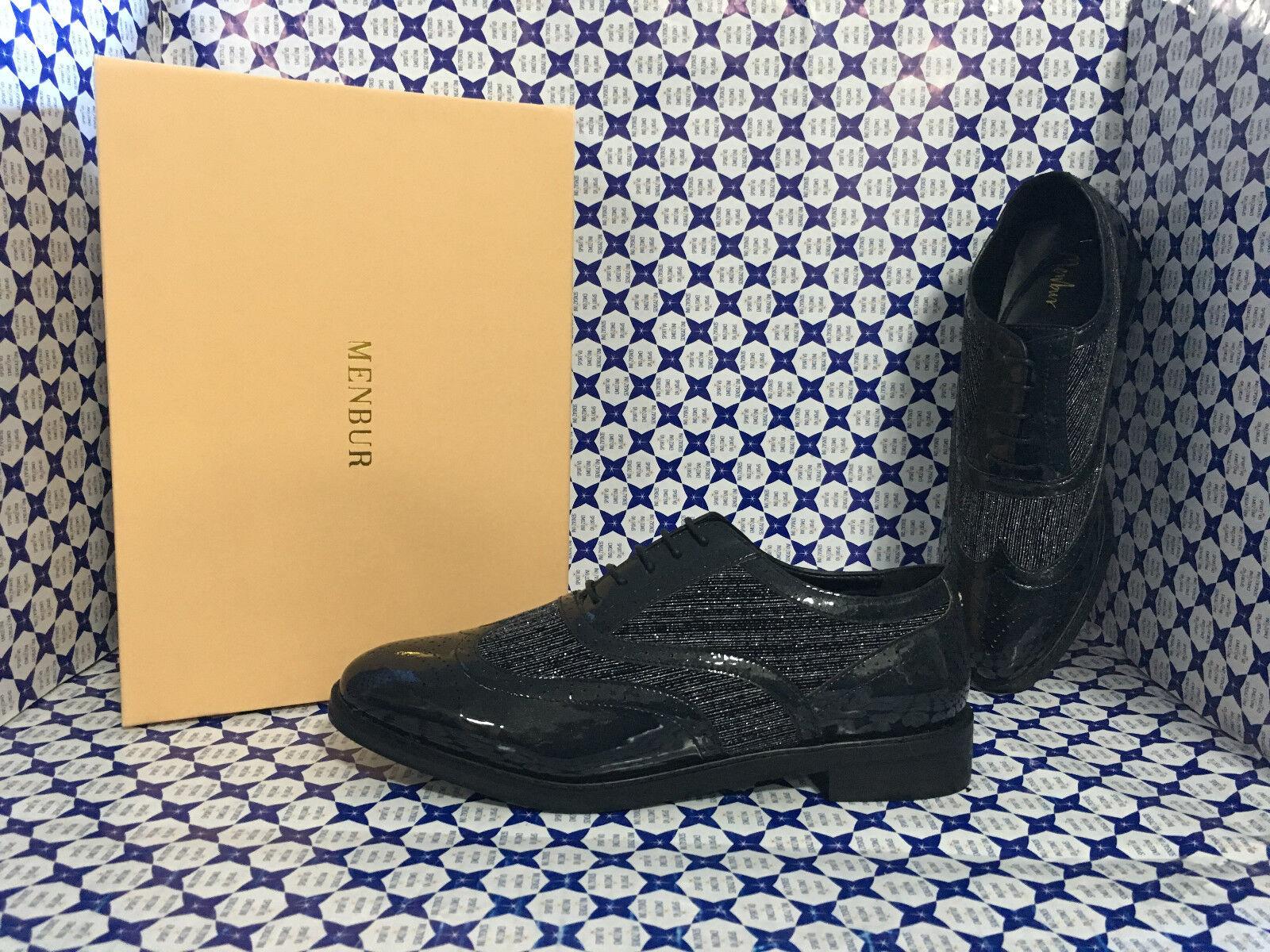 chaussures Menbur femmes - Stringata Coda di Rondine Lurex Vernice - noir- 7739