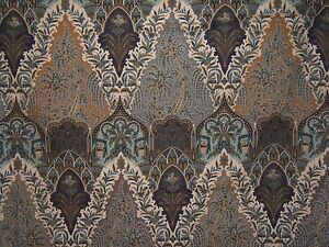 Clarence-House-034-Jammu-034-hand-printed-fabric-color-blue-gold-56-034-Wide-X-1-50-Yards