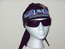 HARLEY DAVIDSON MOTORCYCLES USA Black SKULL CAP DU RAG HEAD WRAP BANDANA SCARF