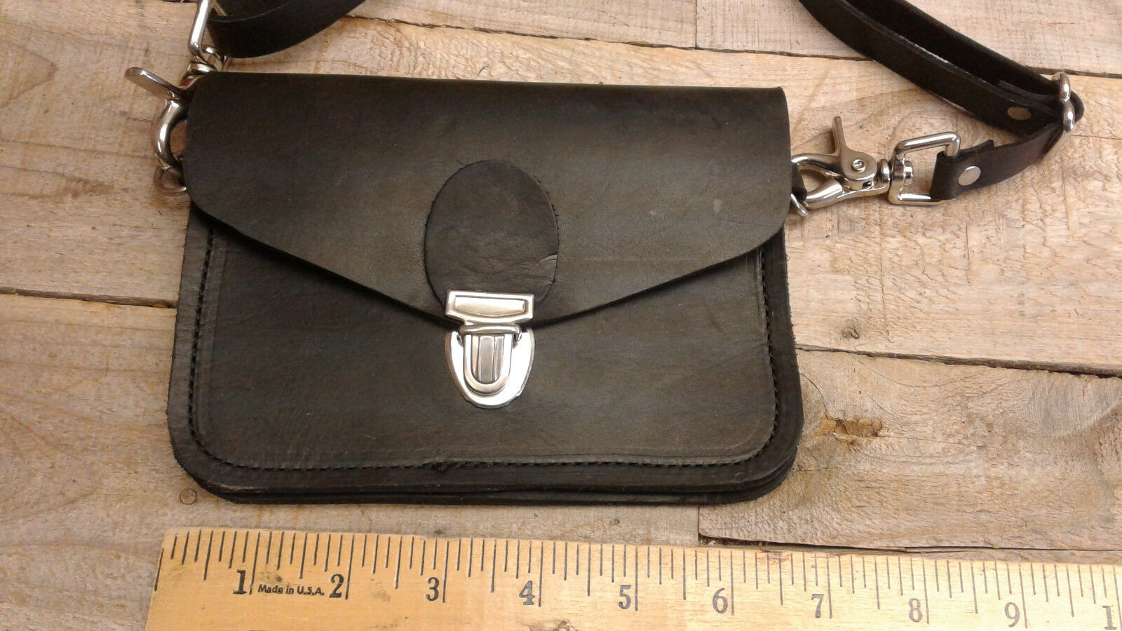 Small Leather Motorcycle/ Trucker/ Biker american made Wallet with strap