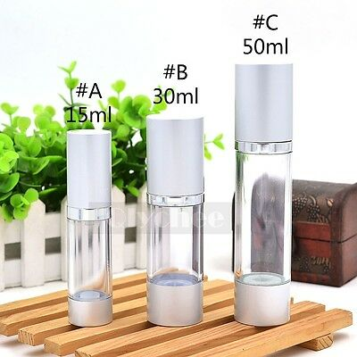 1X Empty Cosmetic Airless Bottle Plastic Treatment Pump Trave Bottle Silver Cap