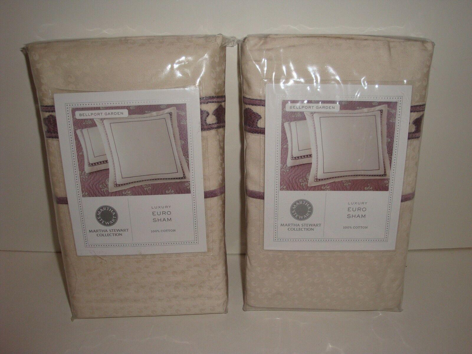 Macy's Martha Stewart Bellport Garden S 2 Euro Shams Embroidered Lavender Cream