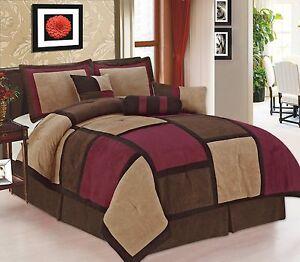 5-piece-Burgundy-Brown-amp-Beige-Micro-Suede-Patchwork-Twin-Size-Comforter-Set
