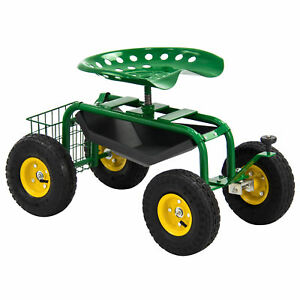 Garden Cart Rolling Work Seat With Tool Tray Heavy Duty Gardening