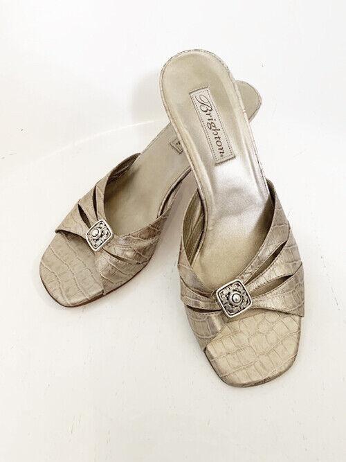 Brighton Keira Women's Kitten Heel Sandal shoes Champagne gold Croc Embossed 9