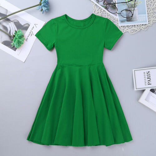Girls Short Sleeve A Line Dress Kid Skater Swing Flared Mini Dress Pleated Skirt