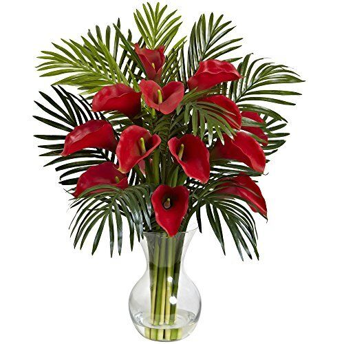 Nearly natural red calla lily and areca palm silk flower arrangement nearly natural red calla lily and areca palm silk flower arrangement ebay mightylinksfo
