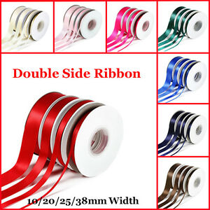 23-Metres-DOUBLE-SIDED-SATIN-RIBBON-Rolls-10mm-20mm-25mm-38mm-Various-Colour