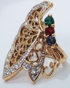 14K-GOLD-EP-1-0CT-DIAMOND-SIMULATED-SAPPHIRE-AMETHYST-BUTTERFLY-RING-SIZE-7-OR-O