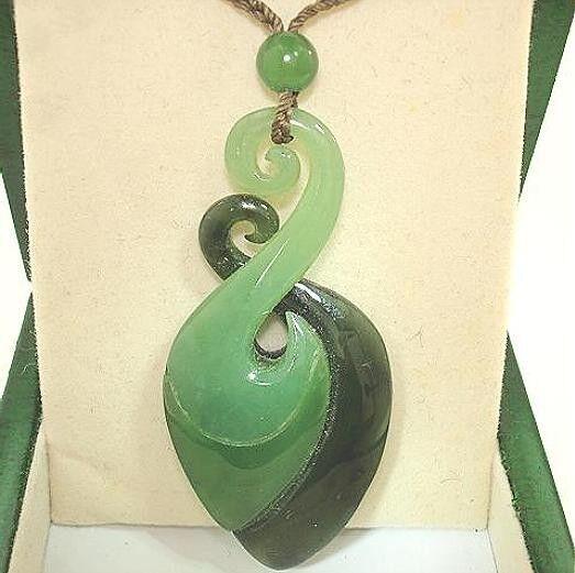 Genuine Master Carved 3-Tone Nephrite Jade Maori Koru Twist Rebirth Pendant #1
