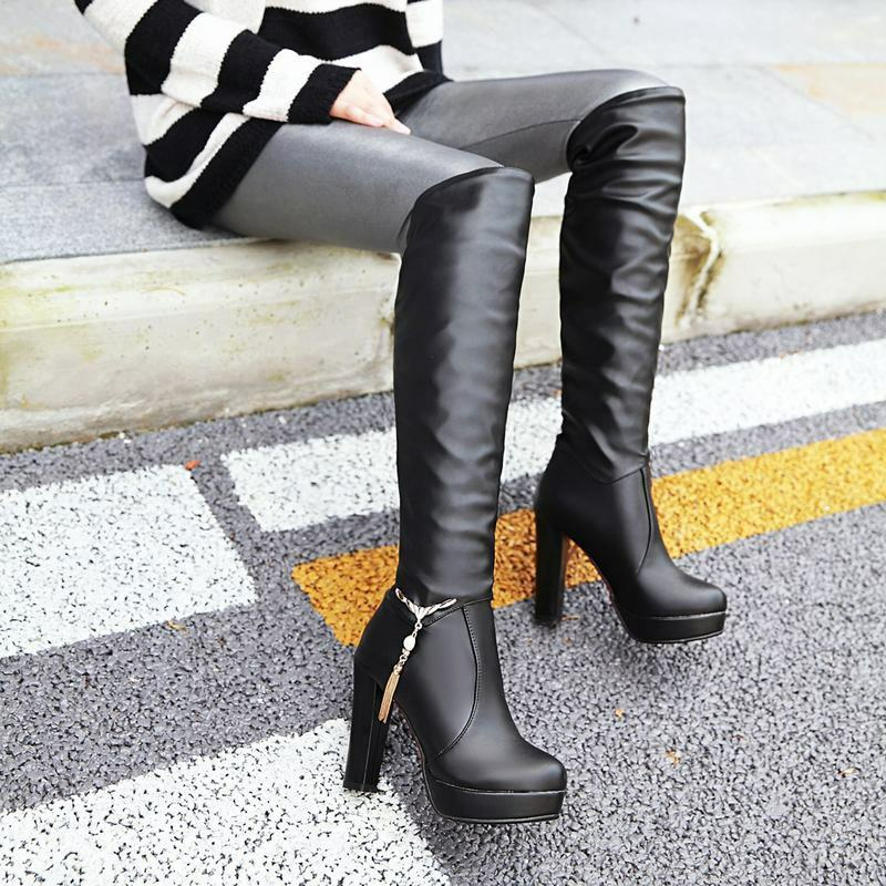 Ladies Slouch Metal Tassel Decor Platform Block Heels Knee High Boots New shoes