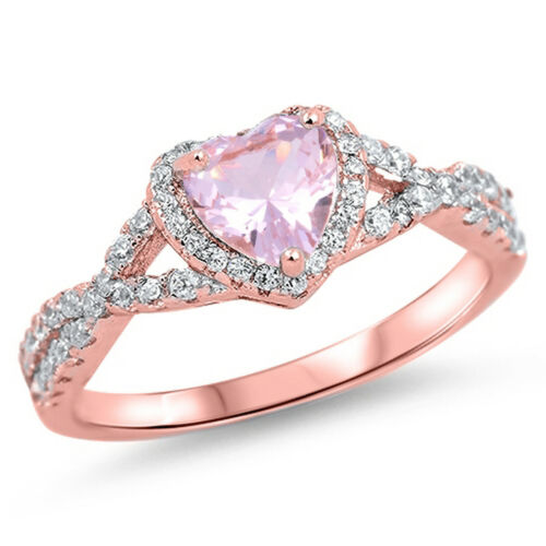 Details about  /Heart Love Knot CZ 925 Rose Gold Tone Sterling Silver Women Ring Sizes 4-13
