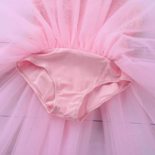 Kids Girls/' Gymnastics Ballet Latin Costume Lyrical Dance Asymmetrical Dress