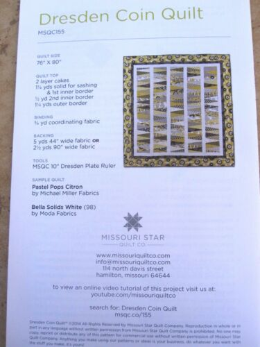 Layer Cake Dresden Plate Template /& Dresden Coin Pattern Missouri Star Quilt Co