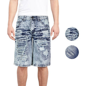 Brooklyn-Xpress-Men-039-s-Relaxed-Fit-Ripped-Distressed-Destroyed-Jean-Denim-Shorts