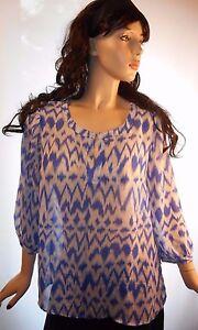 Gorgeous-Blue-Lightning-Size-Large-Sheer-3-4-Sleeve-Blouse-Polyester