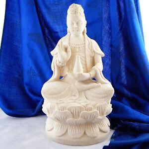 Goddess Kwan Quan Yin White Volcanic Stone Garden Zen Statue Buddha Sculpture