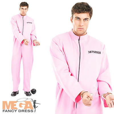 Pink Prisoner Mens Fancy Dress Convict Uniform Stag Do Cops /& Robbers Costume