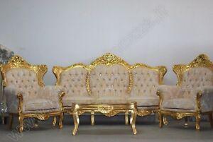Divani Salotto Completo.Dettagli Su Salotto Completo In Legno Foglia Oro E Tessuto Oro Con Cristalli Divano Poltrone