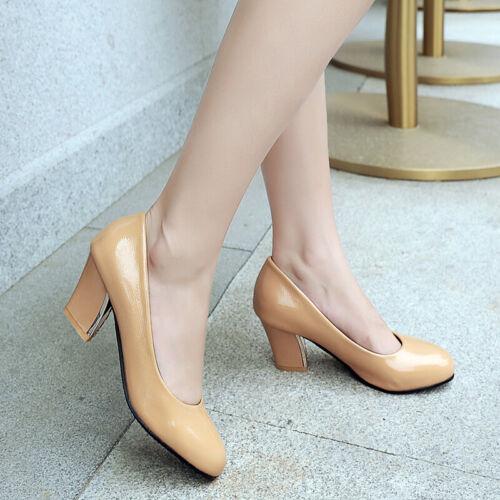 Korean Style OL Single-shoes womens simple elegant pumps patent-leather shoes