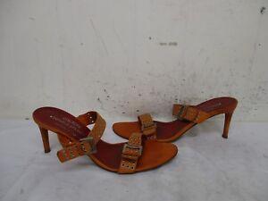 Donald-J-Pliner-Orange-Leather-High-Heel-Slip-On-Shoes-Womens-Size-9-M