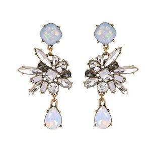 Boucles d/'Oreilles Argenté Art Deco Baroque Goutte Cristal Gris Vert Vintage