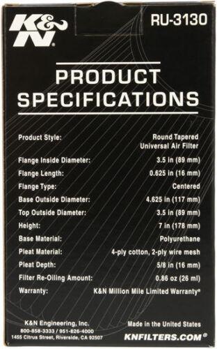 "RU-3130 K/&N Universal Rubber Air Filter 3-1//2/""FLG KN Uni 4-5//8/""B 3-1//2/""T 7/""H"