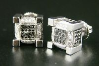 Ice Cube Block Mens Black Diamond Stud Earrings 9 Mm on sale