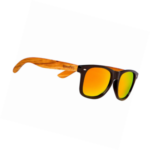 ce2fcae29a Image is loading WOODIES-Zebra-Wood-Wayfarer-Sunglasses-with-Orange-Mirror-