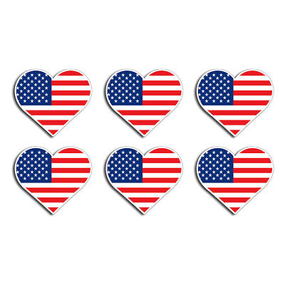 6 Mini USA Heart Flag Sticker Decal American Cup Phone Hard Hat Helmet Pack OSHA