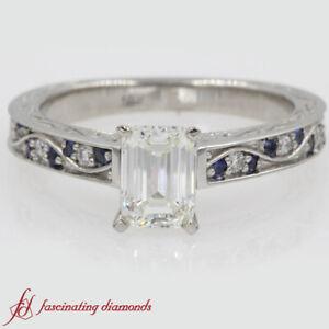 1-Carat-Emerald-Cut-Diamond-amp-Sapphire-Gemstone-Antique-Filigree-Engagement-Ring