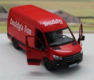 """PERSONALISED """"Daddy's Van"""" RED Mercedes Sprinter Van Boys Toy Model Present"""