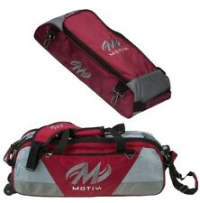 Motiv 3 Ball Tote Bowling Bag with tow wheels Color Black Silver NEWEST