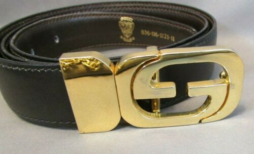 VINTAGE 1970's GUCCI Reversable Leather Belt Gold… - image 1