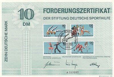 Kompetent 180668 Beleg Bund Sporthilfe Zertifikat 1983 Briefmarken