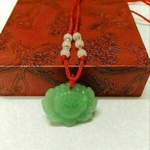 Natural-Green-Jade-Lotus-Pendant-Necklace-Fashion-Lucky-Charm-New-999i