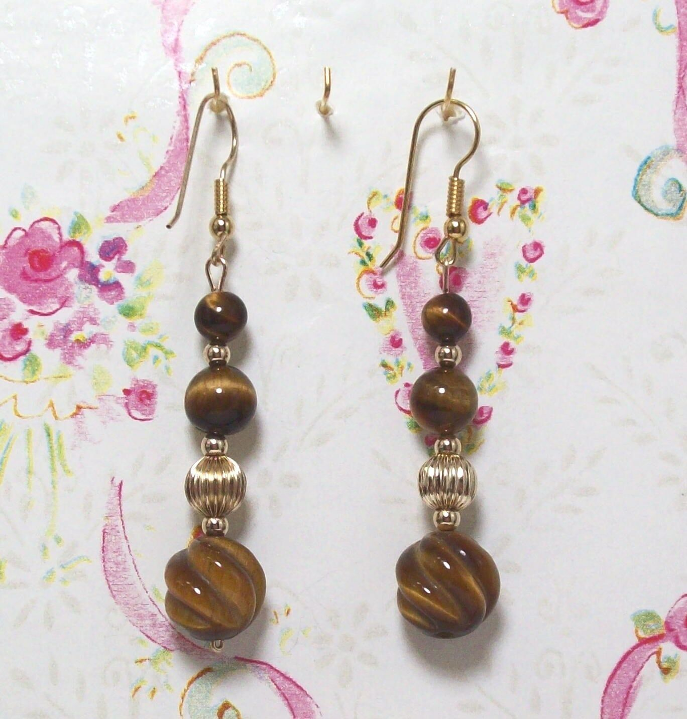 Tiger Eye Beaded Earrings With 14K gold Filled 2 1 2  Long . TEGF008