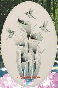 New Oval 10x16 LILY & HUMMINGBIRDS WINDOW CLING DECAL Sliding Glass & Door Decor